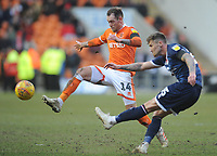 Blackpool's Harry Pritchard vies for possession with Walsall's Dan Scarr<br /> <br /> Photographer Kevin Barnes/CameraSport<br /> <br /> The EFL Sky Bet League One - Blackpool v Walsall - Saturday 9th February 2019 - Bloomfield Road - Blackpool<br /> <br /> World Copyright © 2019 CameraSport. All rights reserved. 43 Linden Ave. Countesthorpe. Leicester. England. LE8 5PG - Tel: +44 (0) 116 277 4147 - admin@camerasport.com - www.camerasport.com