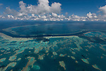 Aerial view of Hardy Reef, home to the heart reef,  in the Great Barrier Reef