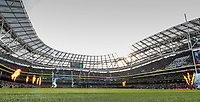 8th February 2020; Aviva Stadium, Dublin, Leinster, Ireland; International Six Nations Rugby, Ireland versus Wales; flames and fireworks as the players enter the pitch
