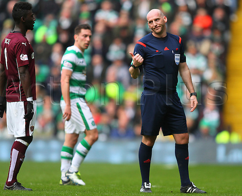 02.04.2016. Celtic Park, Glasgow, Scotland. Scottish Football Premiership Celtic versus Hearts. Referee Bobby Madden tells Prince Bauben to back off