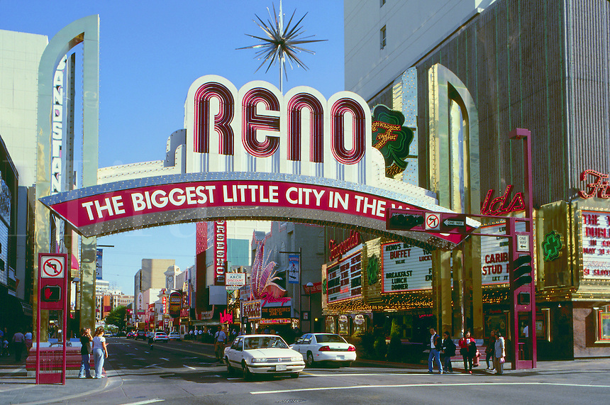 The famous Reno arch on Virginia Street reads - 'The Biggest Little City in the World.'. Nevada.