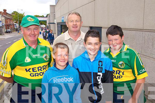 Eamon Hobbins, Matthew Keane, Seamus Hobbins, Connor Keane and Kieran Hobbins, Listry Kerry fans at the Kerry v Down Allireland Quarter final at Croke Park, Dublin on Saturday