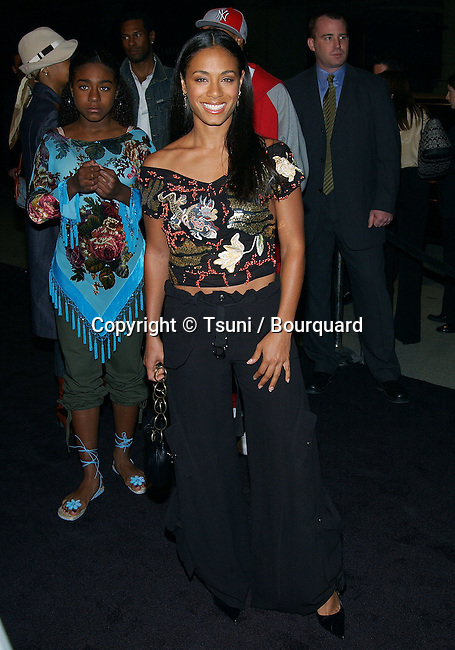 "Jada Pinkett arriving at the premiere of ""Enter The Matrix"" a groundbreaking Animeted Short. February 4, 2003"
