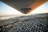 USA, California, San Francisco, flying over South San Francisco in the Airship Ventures Zeppelin