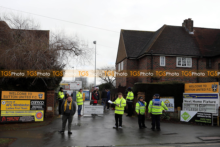 Main entrance to Sutton United FC during Sutton United  vs Leeds United, Emirates FA Cup Football at the Borough Sports Ground on 29th January 2017