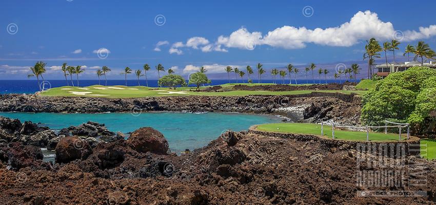 The No. 15 Hole on the Mauna Lani South Golf Course, Big Island of Hawai'i.