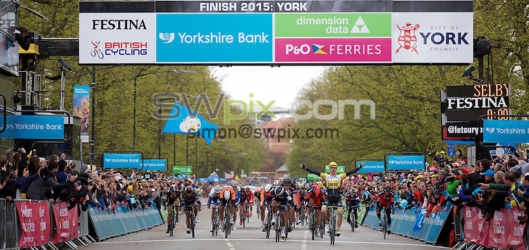 Pix: Shaun Flannery/SWpix.com<br /> <br /> 2nd May 2015<br /> 2015 Tour de Yorkshire<br /> Day 2 - Selby to York.<br /> Moreno Hofland of Team Lotto NL - Jumbo wins Stage 2.