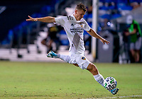 13th July 2020, Orlando, Florida, USA;  Los Angeles Galaxy defender Emiliano Insua (3) winds up to shoot during the MLS Is Back Tournament between the LA Galaxy versus Portland Timbers on July 13, 2020 at the ESPN Wide World of Sports, Orlando FL.