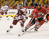 Jon Pelle (Harvard - 11), Louis Liotti (NU - 5) - The Northeastern University Huskies defeated the Harvard University Crimson 3-1 in the Beanpot consolation game on Monday, February 12, 2007, at TD Banknorth Garden in Boston, Massachusetts.