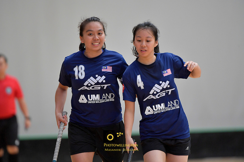 Malaysia's Pei Yi Cheah in action during the World Floorball Championships 2017 Qualification for Asia Oceania Region - Malaysia v China at ASB Sports Centre , Wellington, New Zealand on Sunday 5 February 2017.<br /> Photo by Masanori Udagawa<br /> www.photowellington.photoshelter.com.