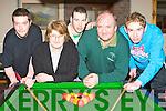 Jonathon Wrenn Listry, Margaret Kelleher Killarney, Damian Corrigon Tyrone, Pat Gill and Neil Mahony Killarney at the pool tournament in Darby O'Gills Killarney Saturday.