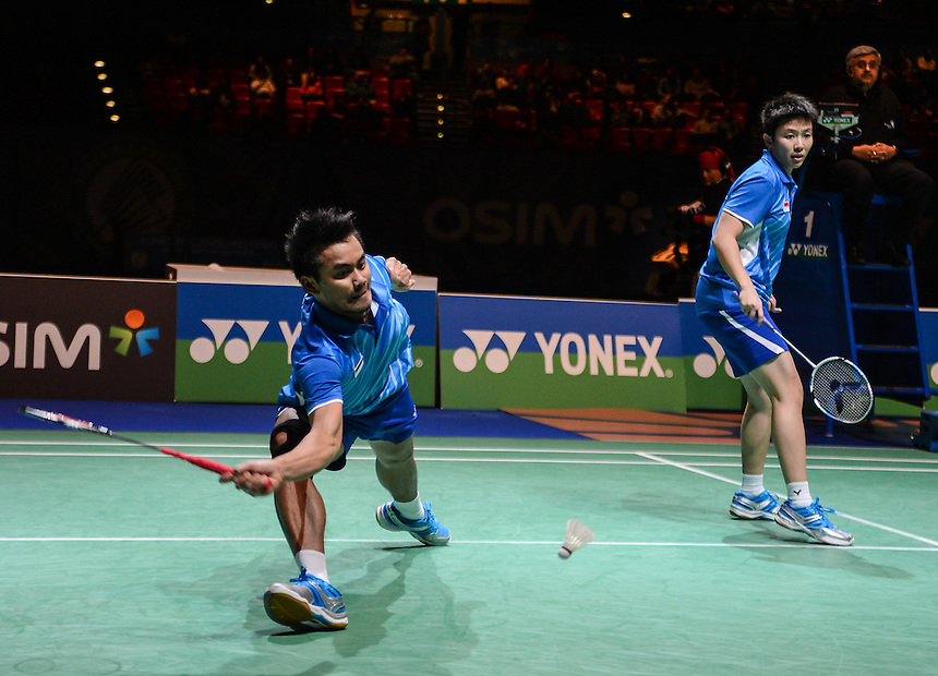 Tontowi AHMAD [2] [INA] and Liliyana NATSIR [INA] in action today during their victory over Nan ZHANG [5] [CHN] and Yunlei ZHAO [CHN]  in their Mixed Doubles Final match. Tontowi AHMAD [2] [INA] and Liliyana NATSIR [INA] bt Nan ZHANG [5] [CHN] and Yunlei ZHAO [CHN]  21-13 21-17..BWF -  2013 Yonex All England Badminton Championships Super Series Premier - The National Indoor Arena - Birmingham - England - Sunday 10th March 2013..© CameraSport - 43 Linden Ave. Countesthorpe. Leicester. England. LE8 5PG - Tel: +44 (0) 116 277 4147 - admin@camerasport.com - www.camerasport.com