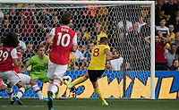 Tom Cleverley of Watford scores a goal during the Premier League match between Watford and Arsenal at Vicarage Road, Watford, England on 16 September 2019. Photo by Andy Rowland.