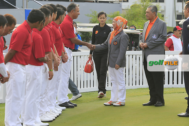 Her Majesty, The Raja Permaisuri Agong, Tuanka Hajah Haminah Hamidun, The Queen of Malaysia greets the Asian Team during Pro-Am Day of the 2016 Eurasia Cup held at the Glenmarie Golf &amp; Country Club, Kuala Lumpur, Malaysia. 14th January 2016.<br /> Picture: Eoin Clarke | Golffile<br /> <br /> <br /> <br /> All photos usage must carry mandatory copyright credit (&copy; Golffile | Eoin Clarke)