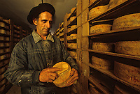 Europe/France/Aquitaine/64/Pyrénées-Atlantiques/Irissarry: Affinage du Fromage AOC Ossau-Iraty<br /> PHOTO D'ARCHIVES // ARCHIVAL IMAGES<br /> FRANCE 1990