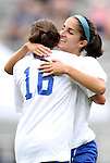 19 August 2012: Duke's Gilda Doria (behind) celebrates her first half goal with Laura Weinberg (16). The Duke University Blue Devils defeated the Elon University Phoenix 8-0 at Koskinen Stadium in Durham, North Carolina in a 2012 NCAA Division I Women's Soccer game.