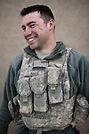 PFC Francois Hage. Odessa, Texas. 21. Charlie Co. 1st Battalion 12th Infantry Regiment, 4th Infantry Division. Photographed at Combat Outpost JFM in Zhari District, Kandahar, Afghanistan.