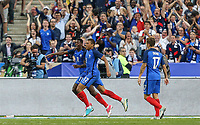 Ousmane Dembele (left) (Dortmund) of France celebrates his goal with Kylian Mbappe (Monaco) of France during the International Friendly match between France and England at Stade de France, Paris, France on 13 June 2017. Photo by David Horn/PRiME Media Images.