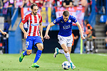 Jamie Vardy (r) of Leicester City is followed by Juan Francisco Torres Belen, Juanfran, of Atletico de Madrid during their 2016-17 UEFA Champions League Quarter-Finals 1st leg match between Atletico de Madrid and Leicester City at the Estadio Vicente Calderon on 12 April 2017 in Madrid, Spain. Photo by Diego Gonzalez Souto / Power Sport Images