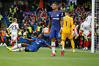 GOAL - Kurt Zouma of Chelsea is furious at the late goal during the Premier League match between Chelsea and Sheff United at Stamford Bridge, London, England on 31 August 2019. Photo by Carlton Myrie / PRiME Media Images.