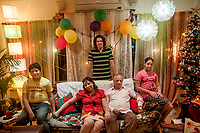 Gareth McGuire and his wife Marina along with their children at their residence, in Kolkata. Marina lives and works in the UAE for better earnings that go into the wellbeing of her family back in India.