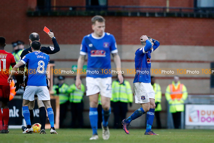 Carlisle's Jamie Proctor is sent off for a 2nd yellow by ref Graham Horwood during Leyton Orient vs Carlisle United, Sky Bet EFL League 2 Football at the Matchroom Stadium on 4th February 2017