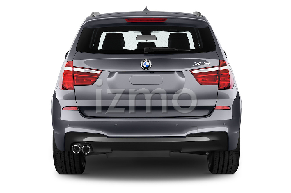 Straight rear view of a 2015 BMW X3 M Sportpakket 5 Door Suv Rear View  stock images