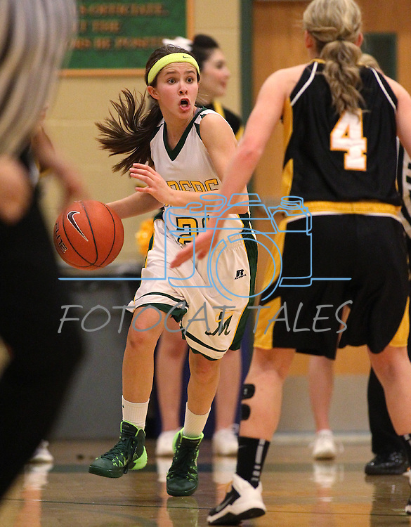 Manogue's Katie Turner competes against Galena's Kaitlyn Hawthorne at Manogue High School in Reno, Nev., on Tuesday, Feb. 11, 2014. Manogue won 51-29.<br /> Photo by Cathleen Allison