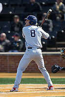 Michael Morman (8) of the Richmond Spiders at bat against the Wake Forest Demon Deacons at David F. Couch Ballpark on March 6, 2016 in Winston-Salem, North Carolina.  The Demon Deacons defeated the Spiders 17-4.  (Brian Westerholt/Four Seam Images)