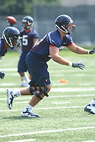 Virginia tackle Landon Bradley during open spring practice for the Virginia Cavaliers football team August 7, 2009 at the University of Virginia in Charlottesville, VA. Photo/Andrew Shurtleff