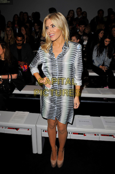 Mollie King of The Saturdays.attending the Aminaka Wilmont a/w 2013 catwalk show during London Fashion Week, Somersert House, London, England. .19th February 2013.LFW full length white grey gray pattern shirt dress platform beige shoes hand on hip blue green black.CAP/MAR.© Martin Harris/Capital Pictures.