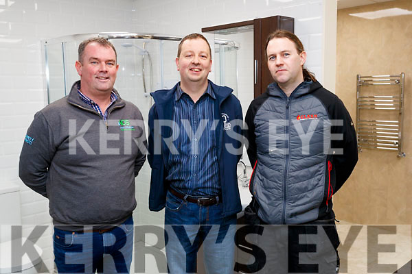 Alan O'Sullivan (Bathrooms 4U) Trevor O'Shea (Clash Plumbing and Heating) and  Michael Pigott (Branch Manager DPL), runners up overall achievement awards Irish Plumbing and Heating awards