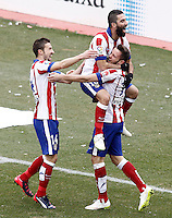 Atletico de Madrid's Gabi Fernandez, Arda Turan and Saul Niguez celebrate goal during La Liga match.February 7,2015. (ALTERPHOTOS/Acero) /NORTEphoto.com