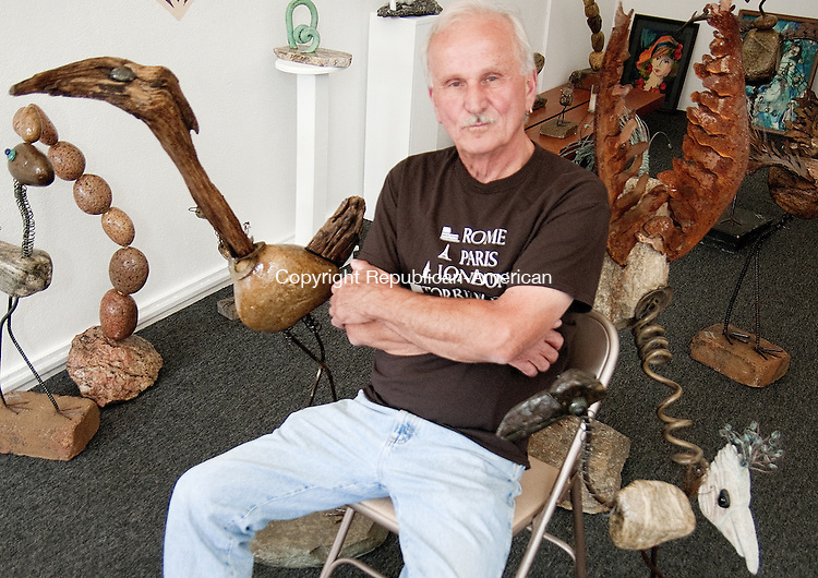 TORRINGTON, CT - 18 JULY 2014 -- Dennis Bailek, a sculpture artist from Torrington, has opened a studio to show and sell his work on East Main Street. Alec Johnson/ Republican-American