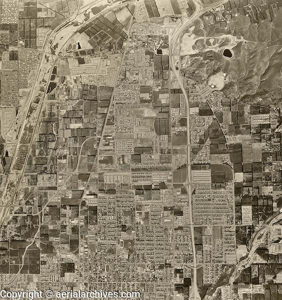 historical aerial photograph Orange, California, 1963