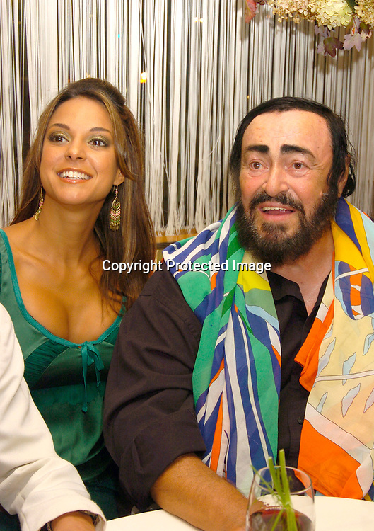 All My Children's Eva La Rue and Luciano Pavarotti ..at the Reopening of San Domenico NY  on September 14, 2004 . Photo by Robin Platzer, Twin Images
