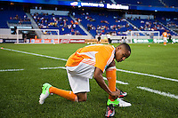 Ricardo Clark (13) of the Houston Dynamo. The New York Red Bulls defeated the Houston Dynamo 2-0 during a Major League Soccer (MLS) match at Red Bull Arena in Harrison, NJ, on August 10, 2012.