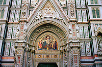 Detail of Santa Maria Del Fiore Cathedral facade.