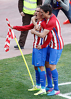 Atletico de Madrid's Antoine Griezmann and Stefan Savic celebrate goal during La Liga match. March 19,2017. (ALTERPHOTOS/Acero) /NORTEPHOTO.COM