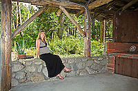 Tara Dutton Sechrest at 7 months pregnant in the bandstand of her parents home at the corner of South Circle Drive and Village Center Drive, Idyllwild