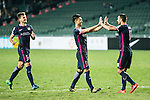 Rufino Segovia of SC Kitchee (r) celebrating with his teammates after winning the match during the 2017 Lunar New Year Cup match between SC Kitchee (HKG) vs Muangthong United (THA) on January 28, 2017 in Hong Kong, Hong Kong. Photo by Marcio Rodrigo Machado/Power Sport Images