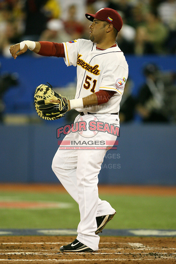 March 8, 2009:  Catcher Max Ramirez (51) of Venezuela during the first round of the World Baseball Classic at the Rogers Centre in Toronto, Ontario, Canada.  Venezuela lost to Team USA 15-6 in both teams second game of the tournament.  Photo by:  Mike Janes/Four Seam Images