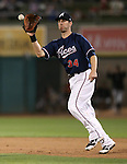 Reno Aces' Donny Dorn catches a line drive in a game against the Omaha Storm Chasers in Reno, Nev., on Sunday, Aug. 24, 2014. <br /> Photo by Cathleen Allison