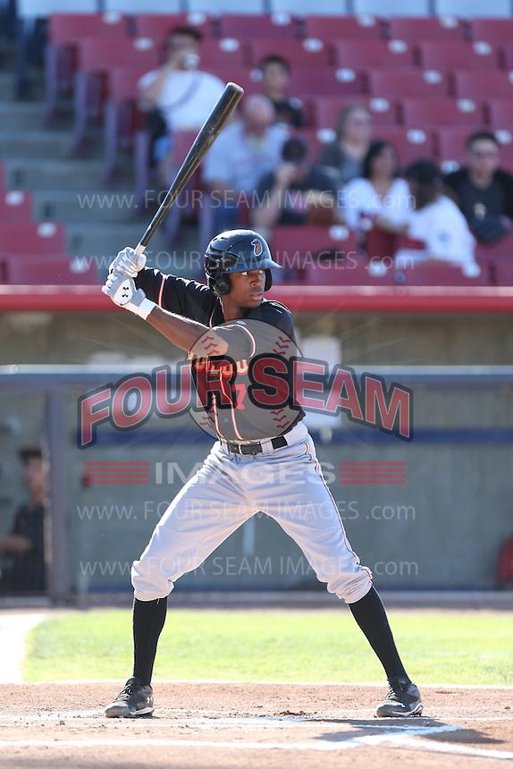 Rosell Herrera #7 of the Modesto Nuts bats against the High Desert Mavericks at Heritage Field on June 29, 2014 in Adelanto, California. High Desert defeated Modesto, 6-1. (Larry Goren/Four Seam Images)