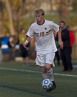 Boston College midfielder Kyle Bekker (10) dribbles down the wing. Rutgers University defeated Boston College in penalty kicks after two overtime periods in NCAA Division I tournament action, at Newton Campus Field, November 20, 2011.
