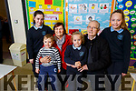 Mary and Patrick McDonnell surrounded by their grandchildren Clare O'Neill, Jason, Sophie and Chloe McDonnell at the Grandparents day in O'Breannain NS on Tuesday.