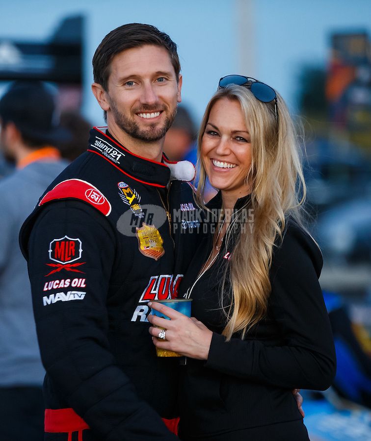 Sep 2, 2016; Clermont, IN, USA; NHRA top fuel driver Morgan Lucas and wife Katie Lucas during qualifying for the US Nationals at Lucas Oil Raceway. Mandatory Credit: Mark J. Rebilas-USA TODAY Sports