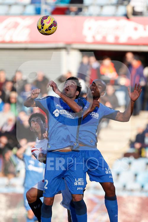 Getafe´s Naldo and J. Rodriguez during 2014-15 La Liga match at Alfonso Perez Coliseum stadium in Getafe, Spain. February 08, 2015. (ALTERPHOTOS/Victor Blanco)