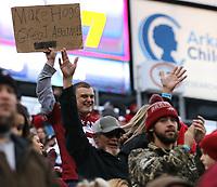 Arkansas Democrat-Gazette/THOMAS METTHE -- 11/29/2019 --<br /> Arkansas fans cheer on the Hogs during the third quarter of the Razorbacks' 24-14 loss to Missouri on Friday, Nov. 29, 2019, at War Memorial Stadium in Little Rock.