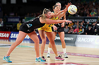 23.09.2018 Silver Ferns Gina Crampton and Australia's Kim Ravaillion in action during the Silver Ferns v Australia netball test match at the Melbourne Arena in Melbourne, Australia. Mandatory Photo Credit ©Michael Bradley.